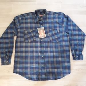 VTG Coleman Outdoors Flannel Shirt NOS Blue Plaid